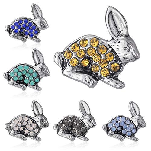 YAZILIND 6 Piezas Personalidad Vintage Rhinestone Broche Set Moda Aleación Bonita Mini Breastpin Corsage Ropa Accesorios Conejo Rabbit