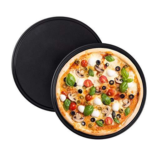 Relaxdays Juego de 2 Bandejas Pizza Horno Redondas y Antiadherentes, Acero al Carbono, Gris, ∅ 32 cm