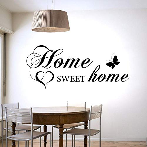 Olivialulu Home Sweet Home Heart Vlinder Muursticker voor de woonkamer Sweet Home Decor Vinyl Sticker Behang Art Home Murals L501 99X42cm Other Color Choice
