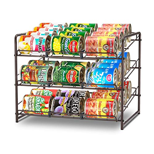 Simple Trending Can Rack Organizer Stackable Can Storage Dispenser Holds up to 36 Cans for Kitchen Cabinet or Pantry Bronze