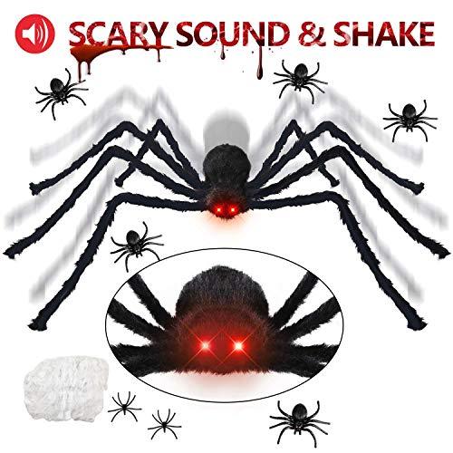 KOHMUI Halloween Deko, Halloween Spinne Deko Spinnennetz Dekoration, 125cm LED Roten Augen groß Riesen spinne und Spinngewebe