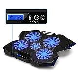 TopMate C7 Laptop-Kühlkissen Bis zu 17,3 Zoll Gaming-Laptop-Kühler | 5 leise Lüfter mit blauen LED-Leuchten 2 USB-Anschlüsse | Ocean Blue Trim Design