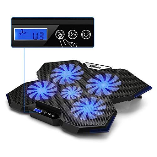 TopMate. C7 Base de Refrigeración para Ordenador Portátil de hasta 17 Pulgadas | 5 Ventiladores Silenciosos con Luces Led Azules 2 Puertos USB | Diseño Azul Marino