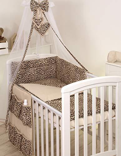 PRO COSMO 11 Piezas juego de ropa de cama para cuna de bebé cama edredón, dosel + soporte (120x60cm, Animal Print Beige) Jaguar Animales Patrón de Leopardo Marrón
