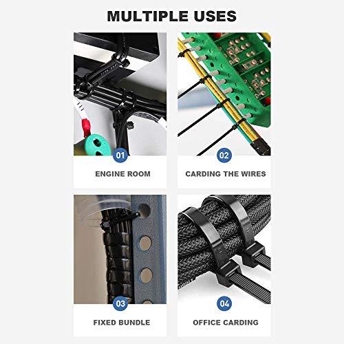 Caiery 100 Stück Große lange Kabelbinder 300 x 4.8 mm, UV-Beständig ultra starke Kabelbinder mit 50 kg Zugfestigkeit, Schwarz