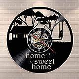 BFMBCHDJ Kid Swinging In A Tree Wall Art Reloj de Pared Home Sweet Home Vinyl Record Reloj de Pared Happy Childhood Housewarming Wall Watch Gift