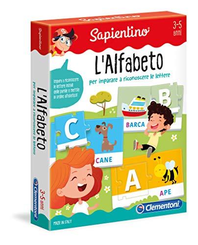 Clementoni - 12893 - Sapientino - L'Alfabeto - gioco educativo 3 anni tessere illustrate, puzzle incastro animali, gioco per imparare le lettere - Made in Italy