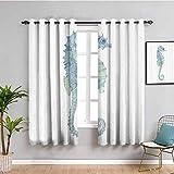 Decoración de animales para sala de estar cortinas 2 paneles de perfil imagen de un caballito de mar en pincel acuarela con efectos de neblina oscura azul claro verde W84 x L84 pulgadas