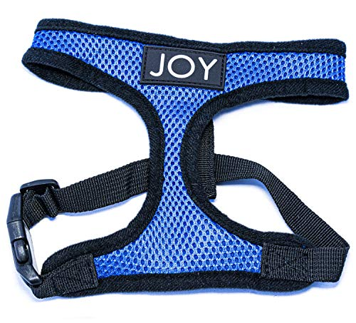 Joy Small Dog Adjustable Harness - No Pull Vest Harnesses for Small Dogs & Cats - Comfortable & Soft Mesh Pet Walking Accessory for Small Breed Puppy - Heavy Duty Front Lead (Large, Blue)
