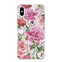 Ruuu iPhone XR ハード ケース スマートフォン スマホ カバー 柄入り クリアケース フェミニン ボタニカル クリア 透明 イラスト かわいい 花柄 はな 花 フラワー ピンク ローズ