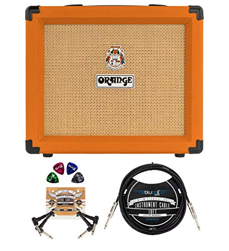 Orange Amps Crush 20 Combo Amplifier for Guitars (Orange) Bundle with Blucoil 10-FT Straight Instrument Cable (1/4in), 2-Pack of Pedal Patch Cables, and 4-Pack of Celluloid Guitar Picks