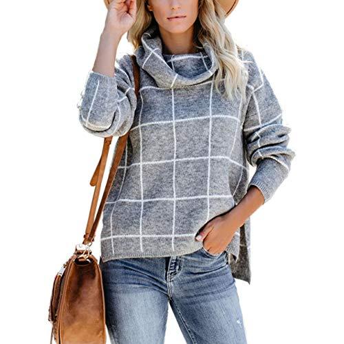 SERAPHY Maglione da Donna Felpe Invernali Calde Collo Alto Plaid Maglia Top Abbigliamento...