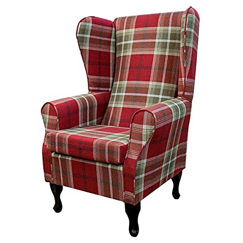 Large High Back Fireside Chair in Balmoral Red Tartan Fabric - Seat - Comfy Armchair on Queen Anne or Straight Tapered Legs