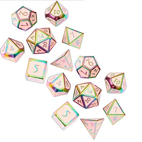 Juegos de dados de juego Juego de accesorios de entretenimiento Dados de aleación de zinc set conjunto de dados de metal colorido (2 juegos) Accesorios en el aula ( Color : Pink , Size : 16mm )