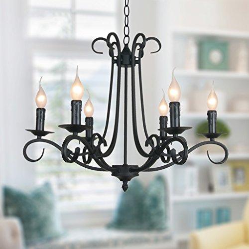 Pendelleuchte Schatten Rustikale französische klassische aristokratische Anhänger Kerze Kronleuchter Landhausstil im europäischen Stil Wohnzimmer einfach, schwarz Metall, klarem Kristall