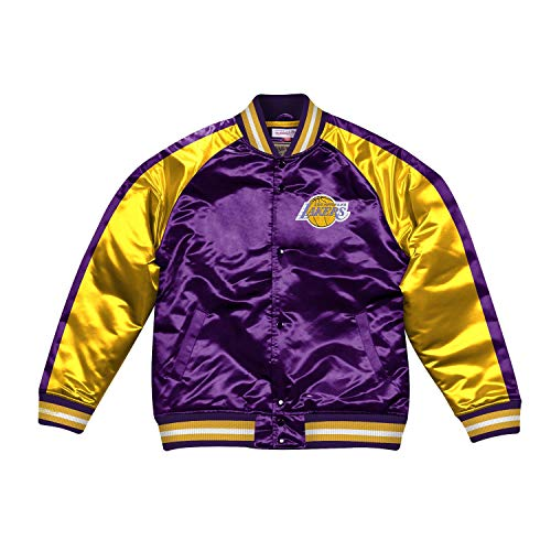 Mitchell & Ness NBA Color Blocked Satin Jacke (LA Lakers - Purple, S)
