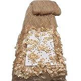 Tela de encaje africano con bordado de flores 3D para boda fiesta, sintético, beige, 5 años
