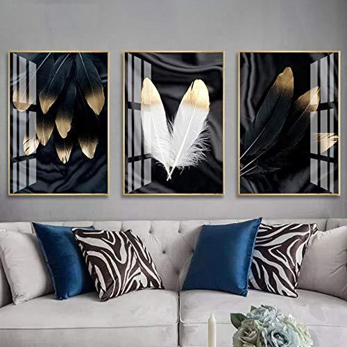 LLXXD Nórdico Abstracto Negro Blanco Dorado Pluma Pared Cartel Lienzo impresión Pintura escandinava Sala de Estar decoración imagen-40x60cmx3 (sin Marco)