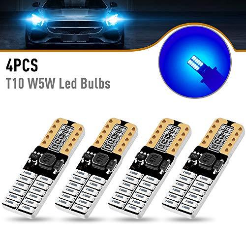 Yifengshun 4x W5W LED T10 Bulbi a cuneo Blubs blu, Canbus Nessun errore 168 501 194 Luci di posizione LED 5W Super Bright 24 LED 4014SMD per interni auto/cupola/mappa/luce di cortesia 12V