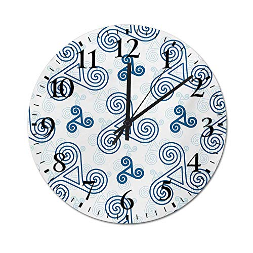 Homesonne Timepiece Various Size Repeating Triskel Celtic Symbols Triple Spiral Extensions Illustration Rustic Wall Clock Perfect for Your Dining Room Blue White 9.8 Inch
