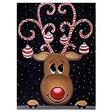 Aphila Diamond Painting Kit for Adults Full Drill Round Resin Diamond Arts Craft Supply Christmas Gifts Decor Christmas Reindeer 30x40cm/12'x16'