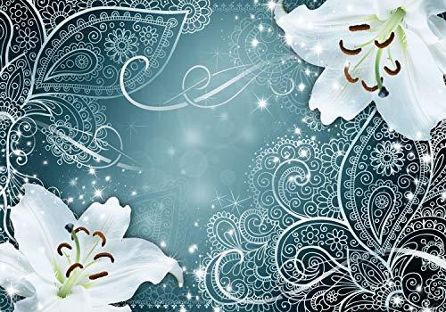 decomonkey Fototapete Lilien 150x105 cm Design Tapete Fototapeten Tapeten Wandtapete moderne Wand Schlafzimmer Wohnzimmer Blumen Abstrakt Ornament