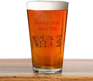 Transparent glass cup - MAHJONG Pint Glass, 16 oz. Drinking Glass- Unique print, never fade, barbecue, party beer mug