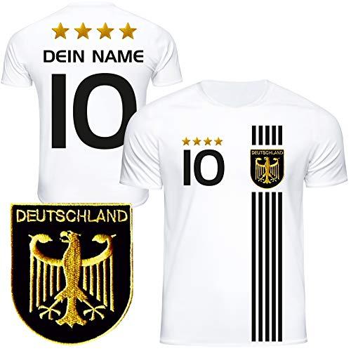 DE FANSHOP Deutschland Trikot mit GRATIS Wunschname + Nummer #D5 2021 2022 EM/WM weiß - Geschenk für Kinder Jungen Baby Fußball T-Shirt personalisiert
