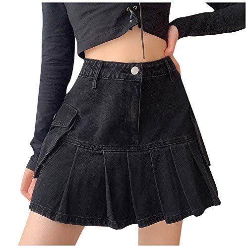 WJSU Mini Falda Cintura Alta para Mujer, Falda Plisada de línea a, Falda Corta de Patinadora, Minifalda de Fiesta, Faldas Plisadas Plisadas para Escuela de Tenis