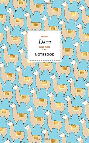 Llama Notebook - Ruled Pages - 5x8 - Premium Taccuino (Blue)