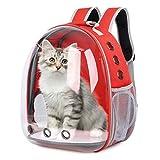 Mochila para Gatos y Perros: Bolsa de Transporte para Mascotas - Mochilas PortáTil de Viaje Cápsula Espacial Transparente Transpirable para Gato y Perro - Medianos Pet Backpack de Transportin | Negro