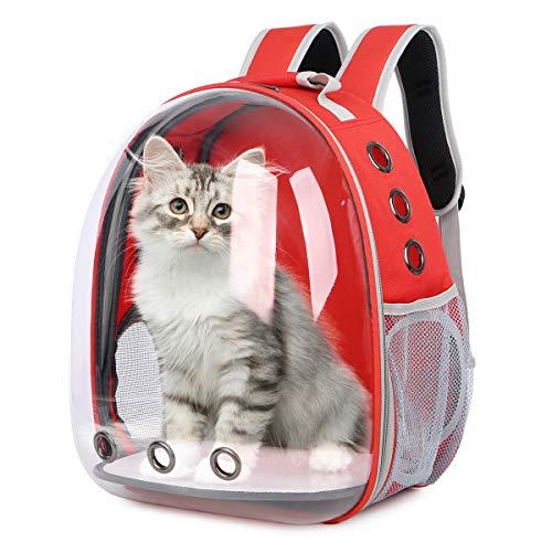 Glenmore Mochila para Mascotas Transparente Mascotas Mochila Portátil para Mascotas Bolsa de Viaje Cápsula Espacial Transparente Transpirable Mochila Delantera Paquete, Rojo