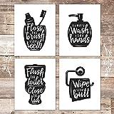 Funny Bathroom Signs (Set of 4) - Unframed - 8x10s | Bathroom Decor Wall Art