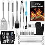 CGSGDK 31Pcs BBQ Grill Accessories Grilling Tools Set with Storage Bag, Extra Thick Stainless Steel Spatula Fork& Tongs, Barbecue Utensils Set for Camping, Kitchen, Outdoor, Backyard, Barbecue Party