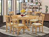 East-West Furniture AVAT7-OAK-C modern dining table set- 6 Great Wooden dining room chairs - A Beautiful round dining table- Linen Fabric seat and Oak Finnish Butterfly Leaf wood table