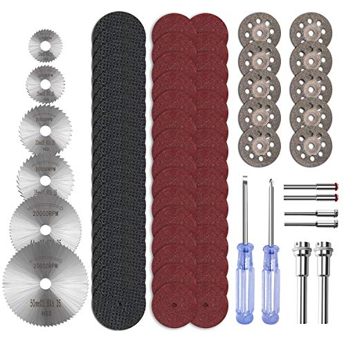 Cutting Wheel Set, ZFE 74Pcs HSS Circular Saw Blades Diamond Cutting Wheels 10pcs, Resin Cutting Discs 50pcs, 1/8