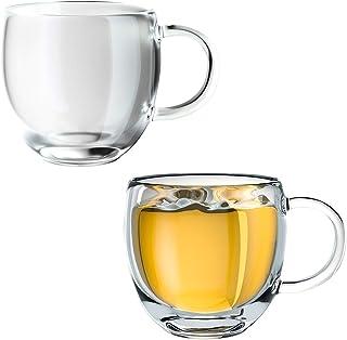 Formemory ダブルウォール グラス カップ 150ml 耐熱 お茶カップ コーヒーカップ 二重構造 透明 おしゃれ 保温 保冷 高硼珪酸塩 水カップ マグカップ アイスコーヒー ホットワイン お酒 お茶 グラス 取っ手付 (2個セット)