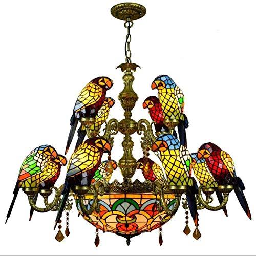 Tiffany Style Bird Chandelier - Lámparas de techo de colores vintage, lámpara...