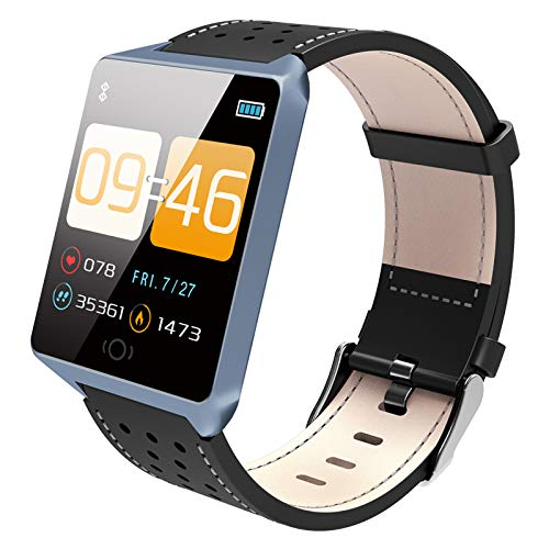 ForErgo Smartwatch Fitness Tracker Uhr Armbanduhr Schrittzähler Blutdruckmessung Uhr Pulsuhr Schlafmonitor Stoppuhr Wasserdicht SMS Anruf Jugendlichen Damen Herren IOS Android (Schwarz/Blau)