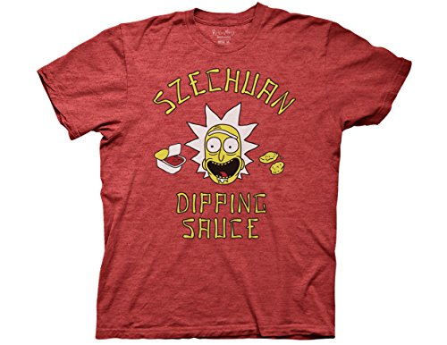 Ripple Junction Rick and Morty Rick's Szechuan Dipping Sauce Adult T-Shirt Large Heather Red