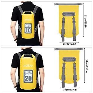 51JvEwKF9XL. SS300  - IREGRO Bolsas Estancas Impermeable 10L / 20L 500D Doble Correa para el Hombro seco Bolsa Mochila Impermeable con Caja…