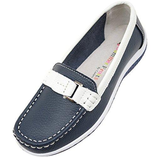 SNUGRUGS Chaussures à enfiler pour femme femme 100 % cuir véritable - Bleu - blueberry, 40 EU