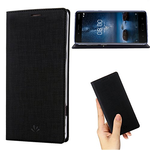 Nokia 6 2018 Case,Nokia 6.1 Case,Premium Leather Wallet Flip Case Stand Kickstand Card Slot Magnetic Full Body Protective Cover Clear TPU Bumper Thin Cover for Nokia 6 2018 (Black)