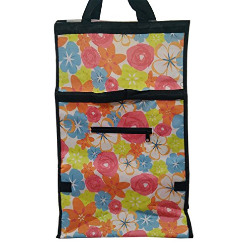 Insasta Flower Pattern Shopping Trolley Bag Folding with Handle 600D Polyester Fabric