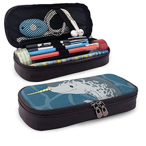 Leder-Federmäppchen, Happy Arctic Ocean Wal mit Horn, das im Meer schwimmt, Cartoon-Stil, Tierzeichnung, Schüler-Federmäppchen, 19,8 x 11,4 x 3,8 cm