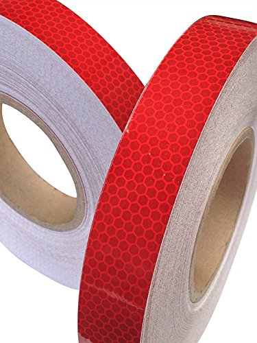 Cinta adhesiva reflectante de Tuqiang®, 25 mm x 2,5 m, 1 unidad, color rojo intenso