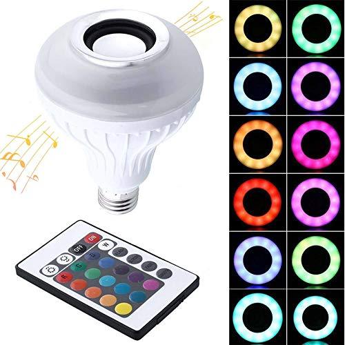 Konesky Bluetooth Glühbirne Lautsprecher, E27 12W LED Musik Glühbirnen RGBW LED Lampen mehrfarbige Farbwechsel Licht mit Fernbedienung für Zuhause, Bühne, Party Dekoration