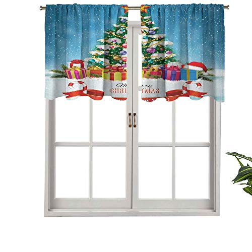 Hiiiman UV Blockout Curtain Valance New Year Tree Surrounded by Surprise Boxes Nativity Noel, Set of 2, 54'x36' for Children Kids Room