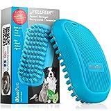 Bluepet® FellFein Gummistriegel für kurzhaar Hunde & Katzen mit Massageeffekt | Entfernt Loses Deckhaar, Fell, Staub & Schmutz | Bürste mit speziellen Gumminoppen auch als Badebürste