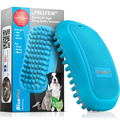 Bluepet® FellFein Gummistriegel für kurzhaar Hunde & große Katzen mit Massageeffekt | Entfernt Loses Deckhaar, Fell, Staub & Schmutz | Bürste mit speziellen Gumminoppen als Badebürste